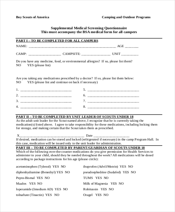 Sample BSA Medical Form 7 Free Documents in PDF – Boy Scout Medical Form