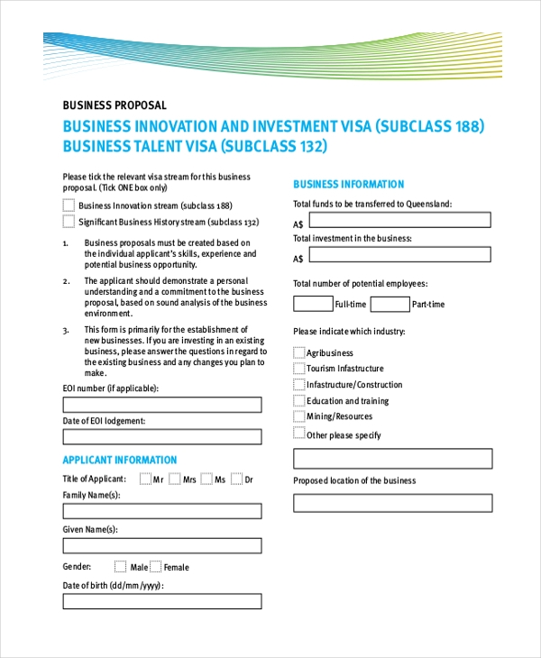 Sample Business Proposal Form - 12+ Free Sample, Example Format