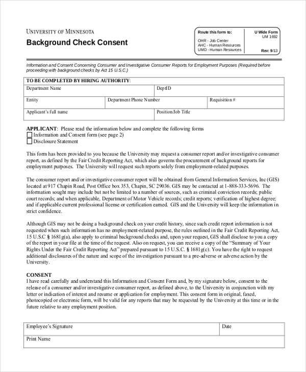 Background Check Consent Forms | 11 Sample Consent Forms Sample Forms