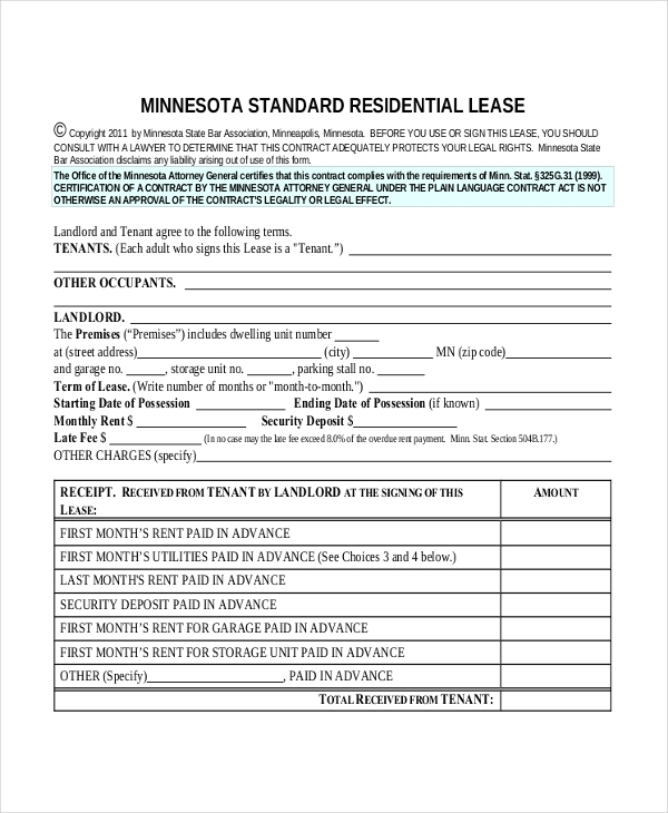 basic apartment lease agreement
