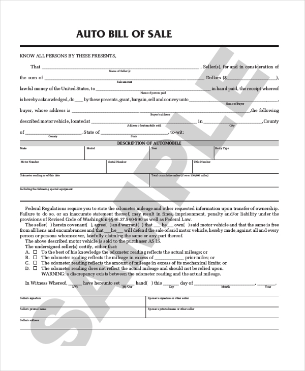 Sample Auto Bill Of Sale Form - 8+ Free Documents In Pdf