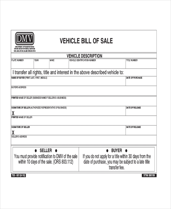 free 8  sample bill of sale for car