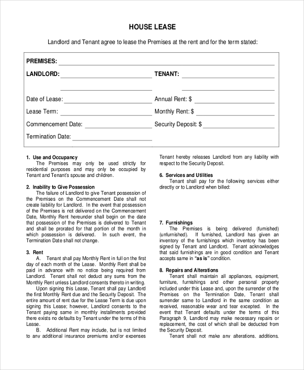 Sample Basic Lease Agreement Form - 8+ Free Documents In Pdf
