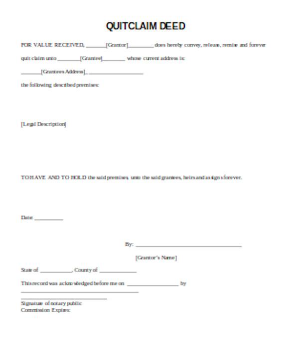 basic quick claim deed form