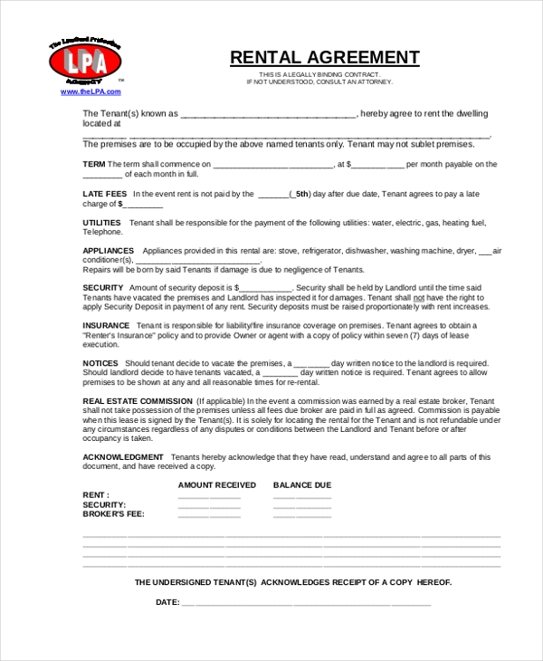 Rental Agreement Form   Free Documents In Word Pdf