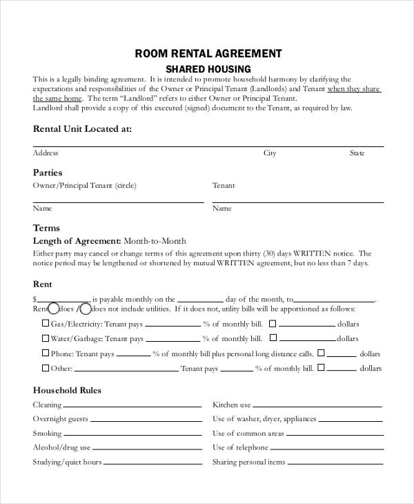 basic room rental agreement