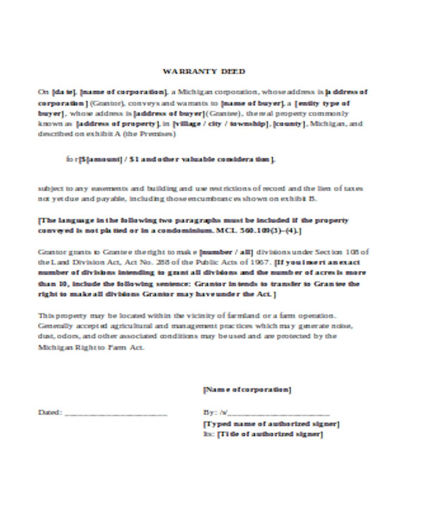 basic warranty deed form
