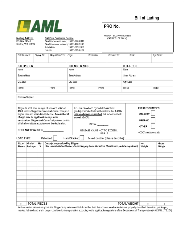 Sample Bill of Lading Form 13 Free Documents in PDF – Bill of Lading Template