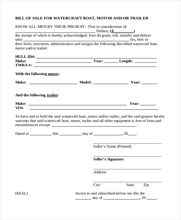Sample boat bill of sale form 8 free documents in pdf for Outboard motor bill of sale