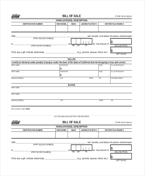 Sample Bill Of Sale For Car   Free Documents In Pdf