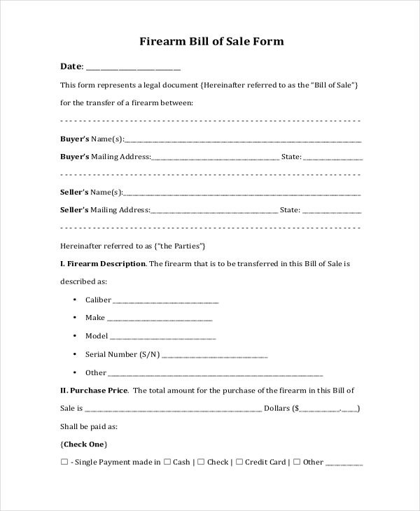 Sample Bill of Sale Forms for Gun 7 Free Documents in PDF – Gun Bill of Sale