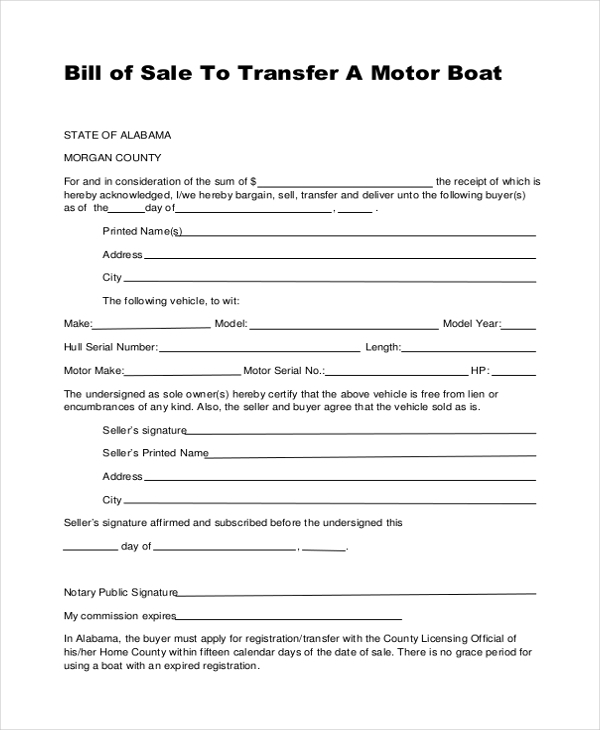 bill of sale to transfer boat