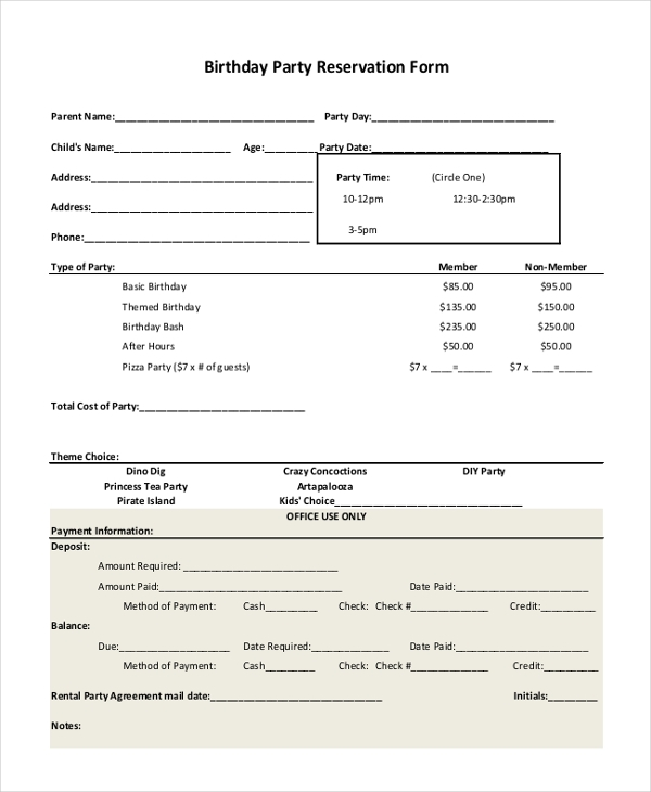 Sample Party Reservation Form 10 Free Documents in PDF