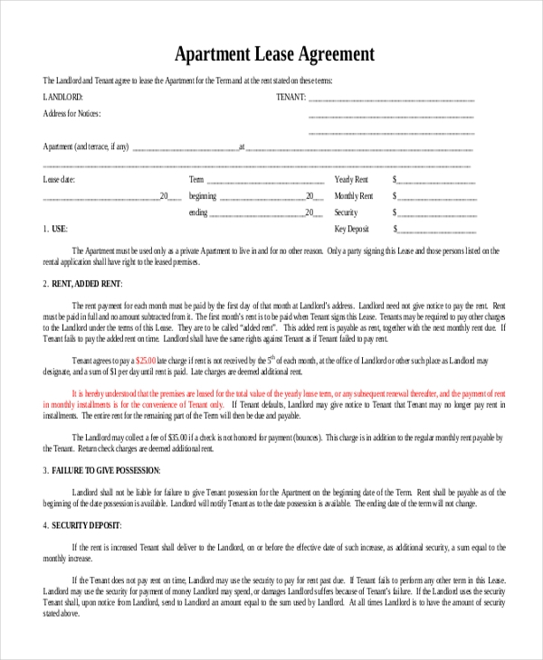 sample blank lease agreement form 10 free documents in doc pdf