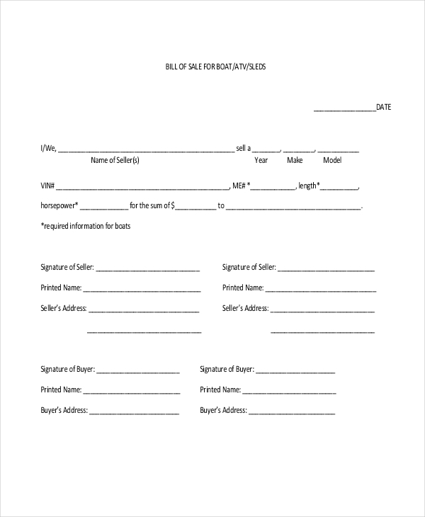 Sample Blank Bill Of Sale Form   Free Documents In Pdf
