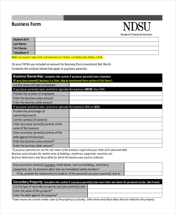 blank business form