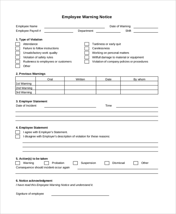 Sample Employee Warning Notice   Sample Documents In Pdf Doc