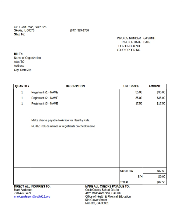 blank invoice excel