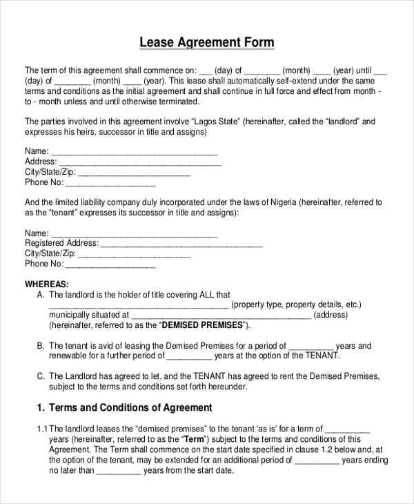 Sample Blank Lease Agreement Form 10 Free Documents in Doc PDF – Landlord Lease Agreement Tempalte