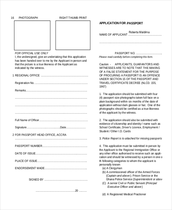 Sample Passport Renewal Form   Free Documents In Pdf
