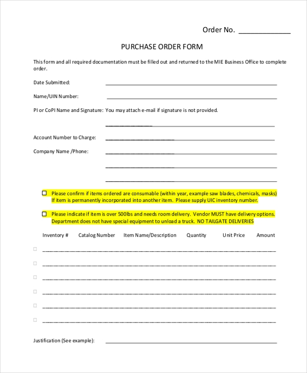 Sample Purchase Form 17 Free Documents in PDF – Blank Po Form