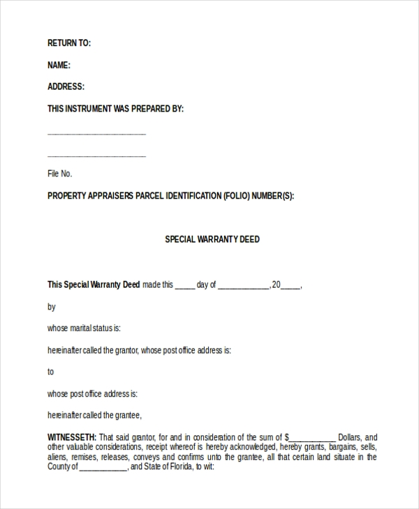 Sample Special Warranty Deed Form - 8+ Free Documents In Word, Pdf