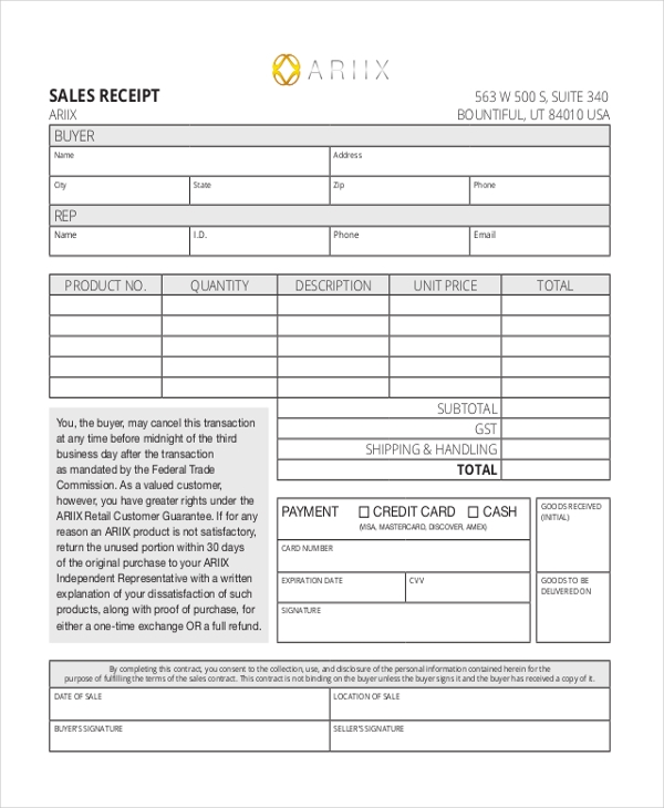 blank sales receipt form