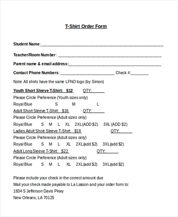 Sample TShirt Order Form   Free Documents In Doc Pdf