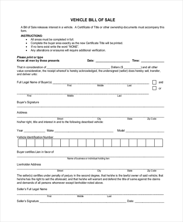 free 9  blank bill of sale forms in word