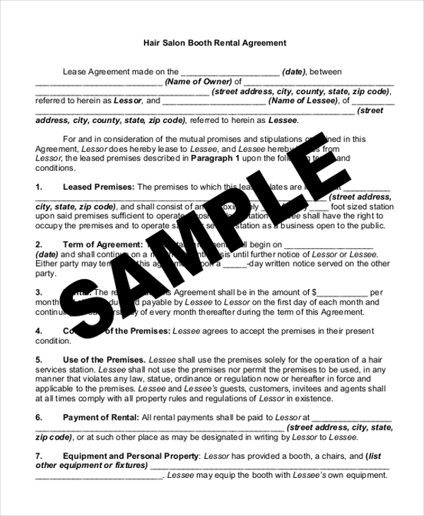 Sample Rental Agreement Form   Free Documents In Word Pdf