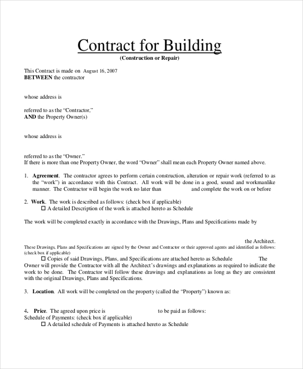 building contract form