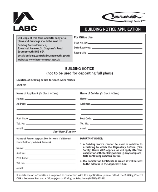 building notice form