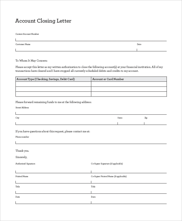 business account closing letter
