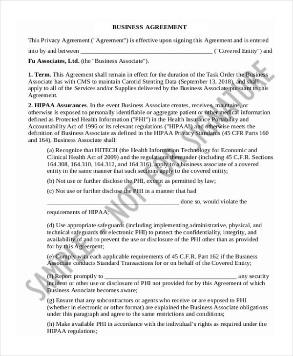 Business Associate Agreement Hipaa Business Associate Agreement