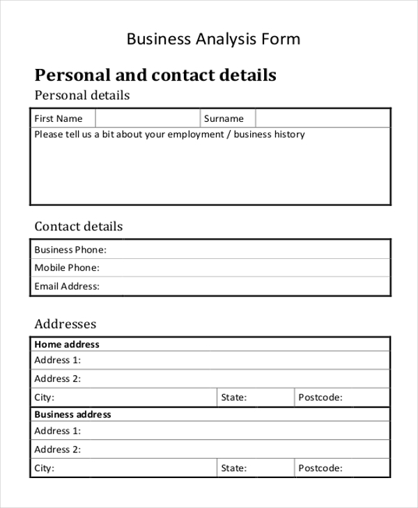 business analyst form