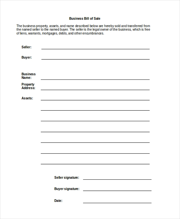 business bill of sale form