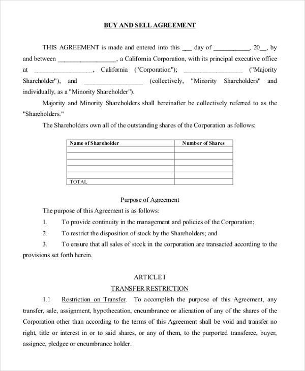 Sample Buy Sell Agreement Form   Free Documents In Pdf