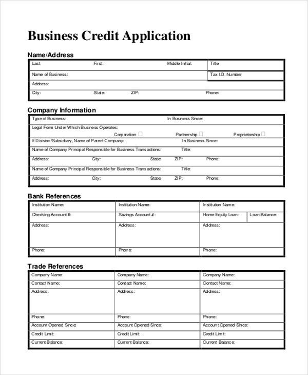 11+ Sample Credit Application Forms - Free Sample, Example ,Format