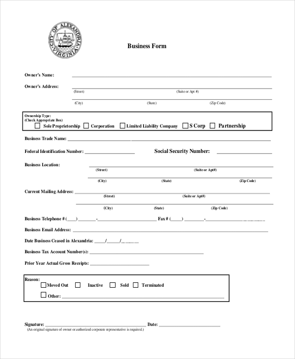 business form template