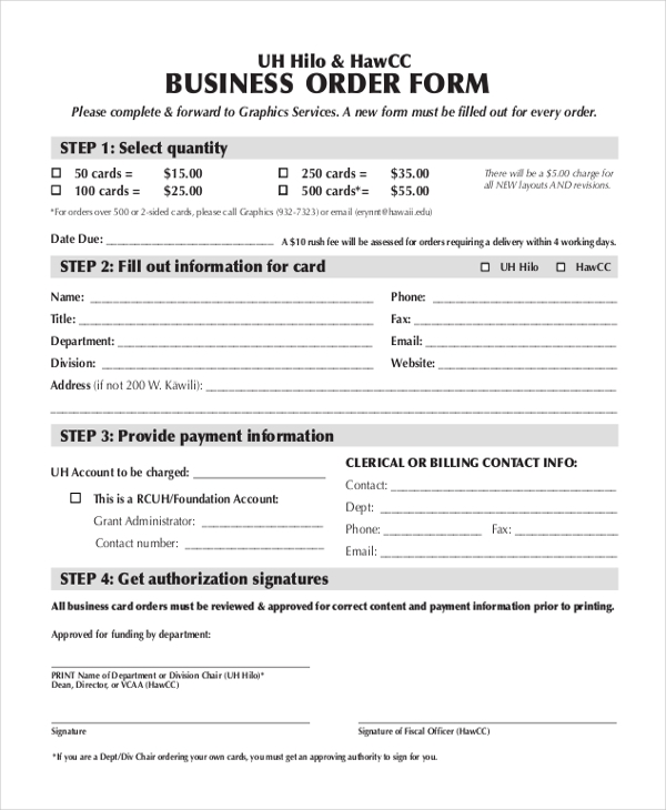 Sample Business Form   Free Documents In Word Pdf