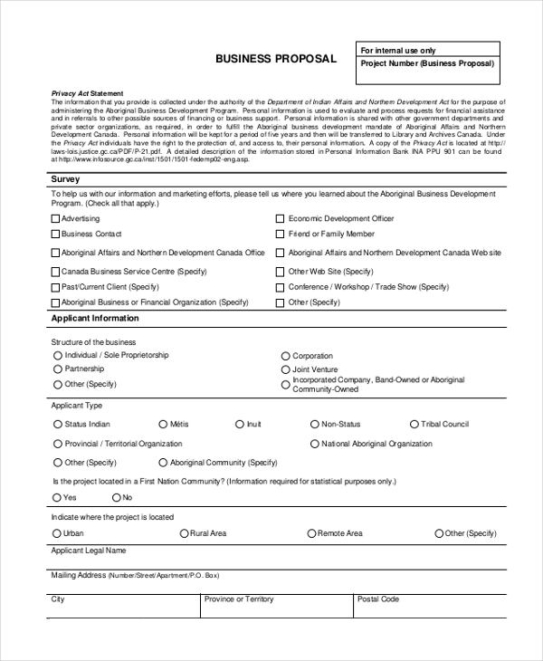 Sample Business Proposal Form   Free Sample Example Format