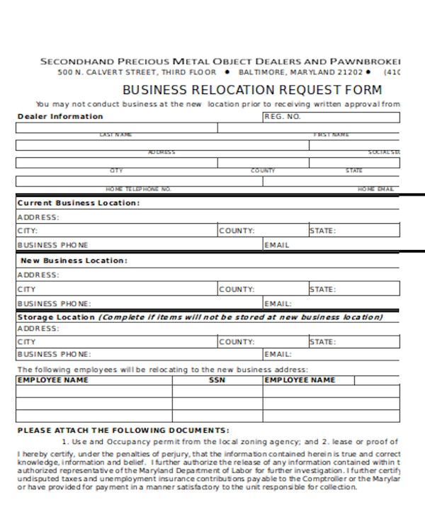 business relocation request form