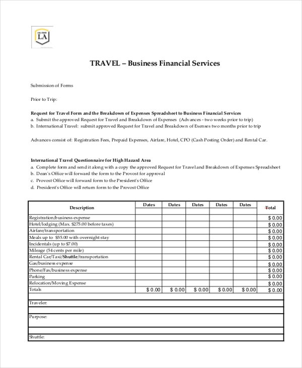 business travel form