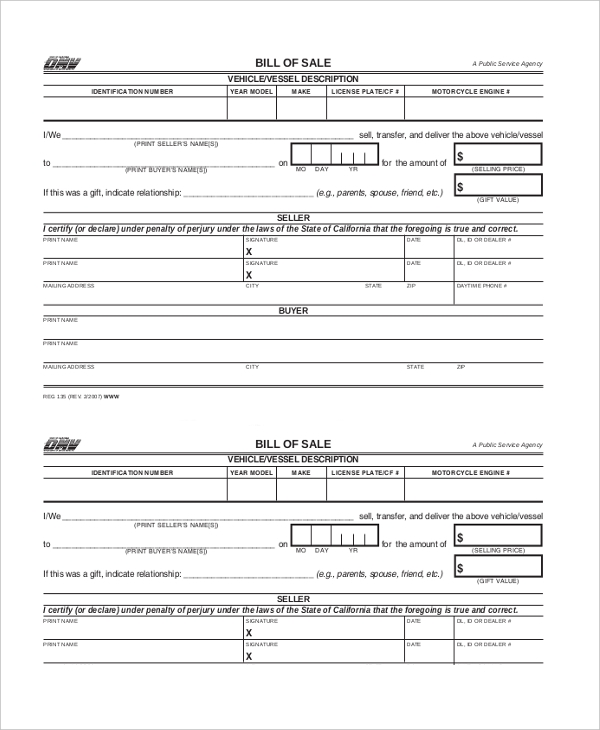 Sample Dmv Bill Of Sale Forms   Free Documents In