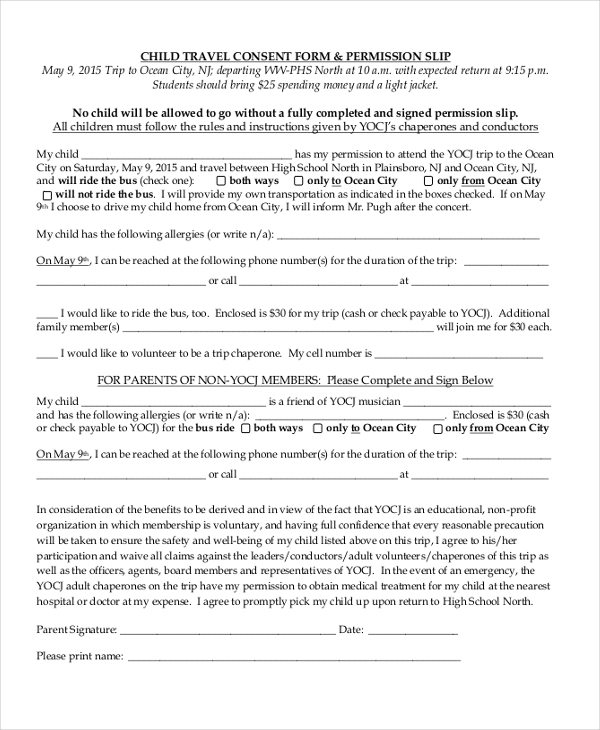 child travel consent form permission slip