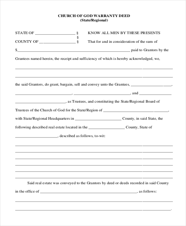 church of god warranty deed