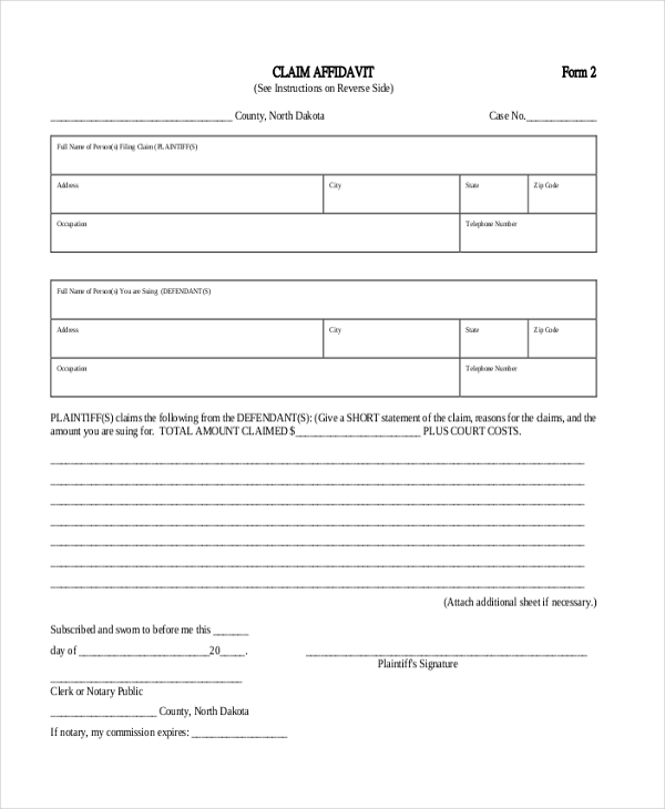 Sample Affidavit Form 15 Free Documents in PDF Doc – Standard Affidavit Form