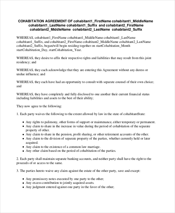 Sample Cohabitation Agreement Form   Free Documents In Pdf