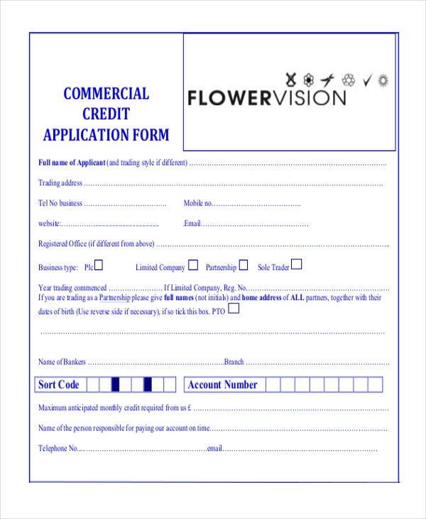 commercial credit application form