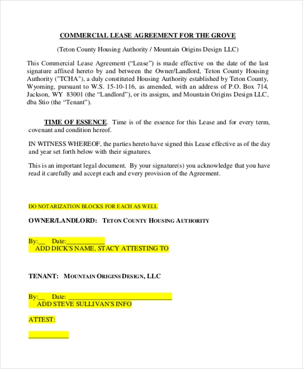 commercial lease agreement for the grove